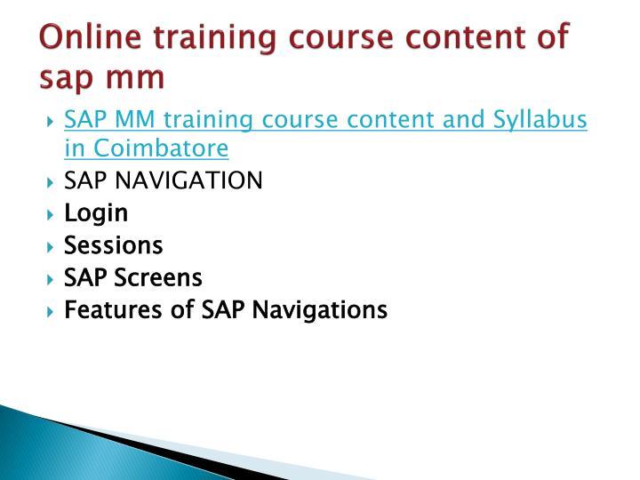Sap mm course content pdf