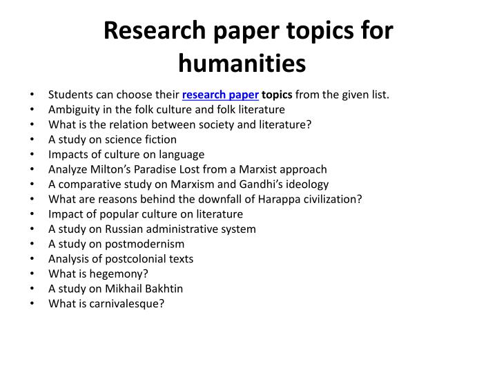 Help on research paper unique topics