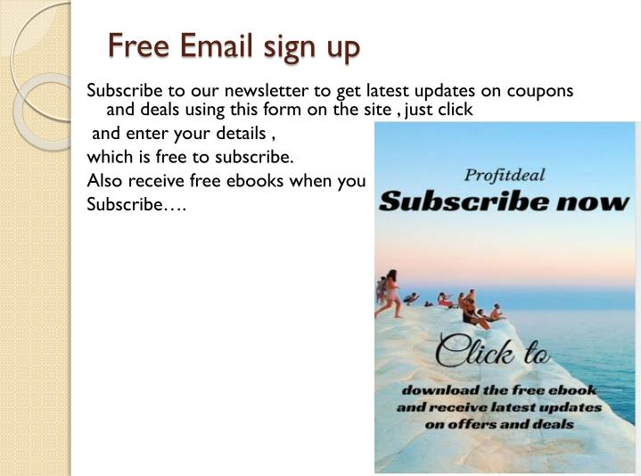 Sign up for coupons by email