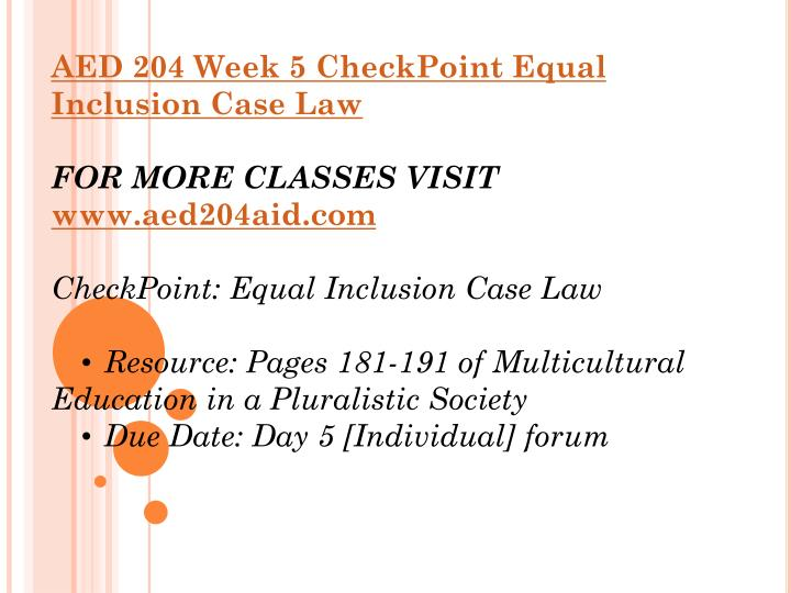 equal inclusion case law Aed 204 week 5 checkpoint equal inclusion case law click below url to purchase homework.