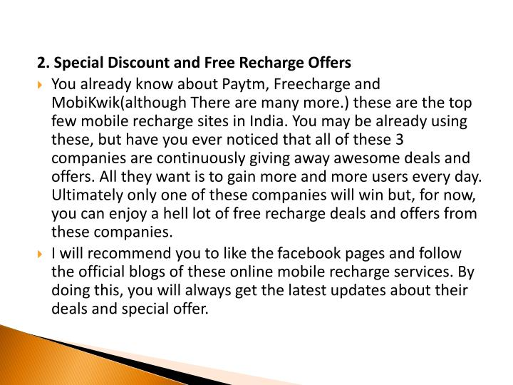 2. Special Discount and Free Recharge Offers