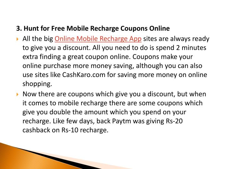 3. Hunt for Free Mobile Recharge Coupons Online