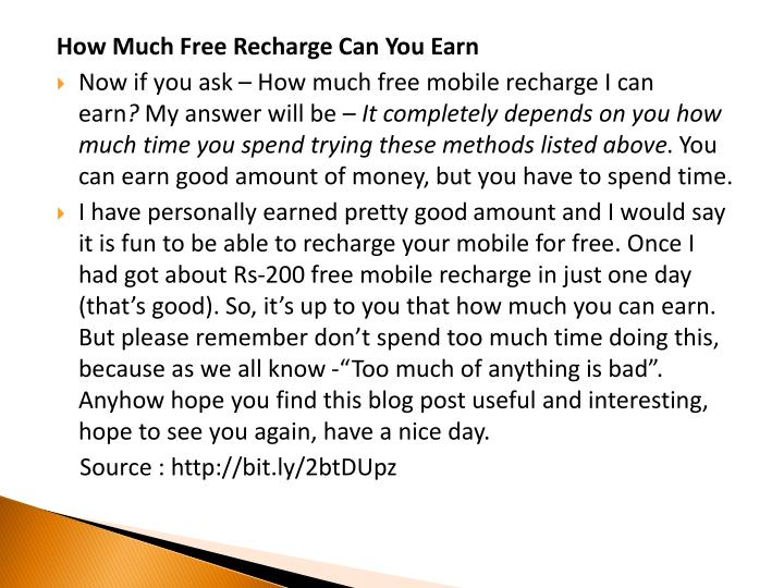 How Much Free Recharge Can You