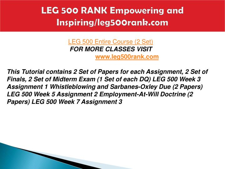 leg 500 assignment 3 Use as a rough draftweek 3 assignment 1 submission if you are using the blackboard mob strayer university, leg 500, assignment 1, employment at will doctrine use as a rough draftweek 3 assignment 1 submission if you are using the blackboard mobile learn ios app, please click view in.