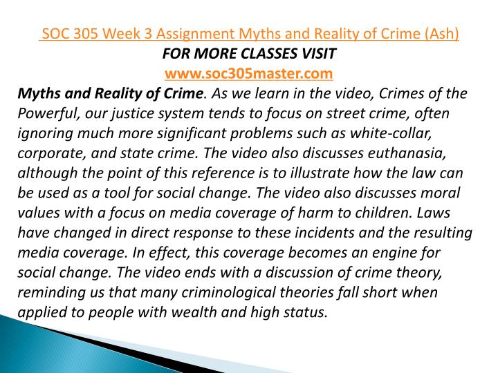 myths and reality of crime white collar Soc 305 week 3 assignment myths and reality of crime myths and reality of crime as we learn in the video, crimes of the powerful, our justice system tends to focus on street crime, often ignoring much more significant problems such as white.