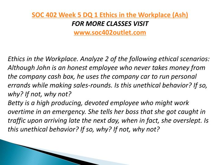 soc 402 week 5 dq 2 View essay - soc 402 week 5 final paper complete from soc 402 at ashford   sexual harassment 2 sexual harassment affects on the workplace in today's.