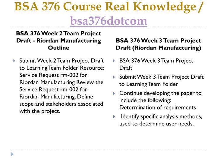 bsa 376 week 4 work related project Bsa 376 week 2 individual work related project analysis part i  analyzes a work -related project using systems analysis for a selected business.