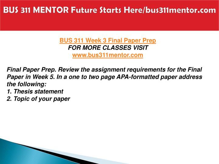 bus 311 final paper