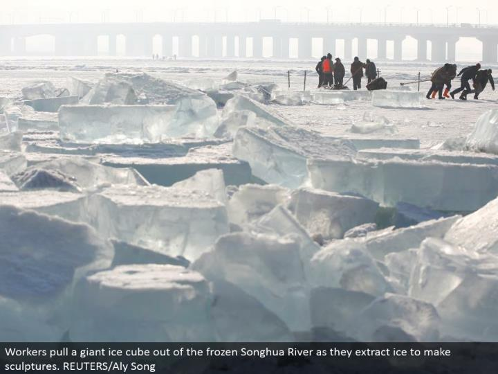 Workers haul a mammoth ice solid shape out of the solidified Songhua River as they concentrate ice to make figures. REUTERS/Aly Song