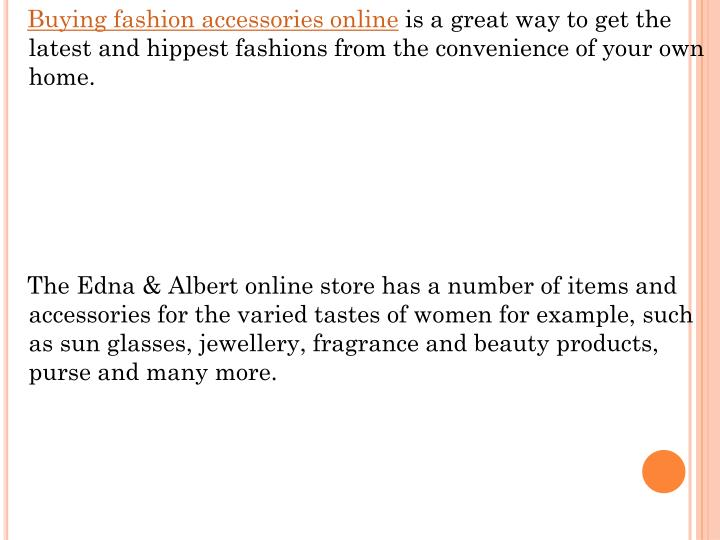 Buying fashion accessories online