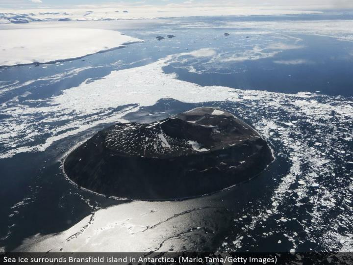 Sea ice encompasses Bransfield island in Antarctica. (Mario Tama/Getty Images)
