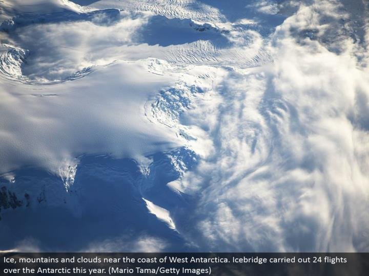 Ice, mountains and mists close to the bank of West Antarctica. Icebridge completed 24 flights over the Antarctic this year. (Mario Tama/Getty Images)