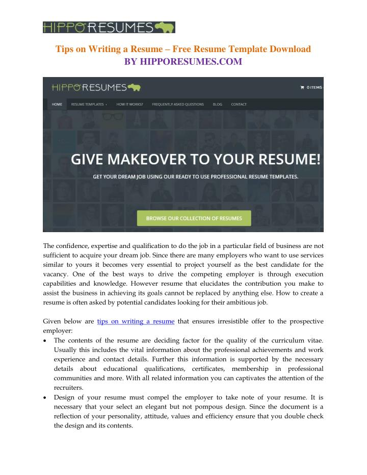 ppt - free resume template download powerpoint presentation