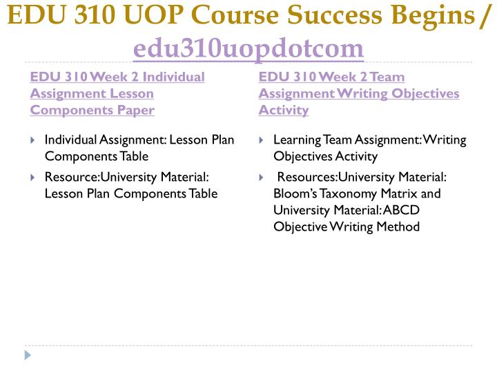EDU 310 Week 1 Individual Assignment Main Factors of Lesson Plans Paper