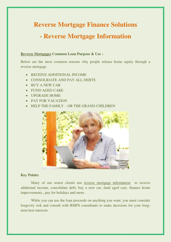 PPT - Revers... Reverse Mortgage Solutions