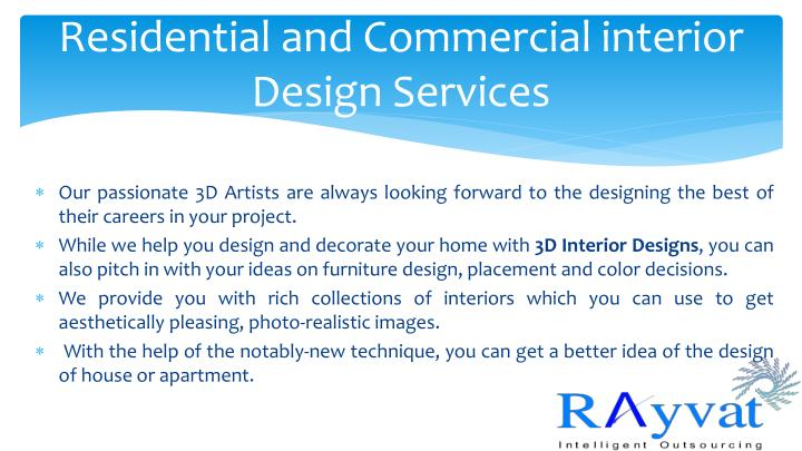 Ppt residential and commercial interior design rendering for Residential design services