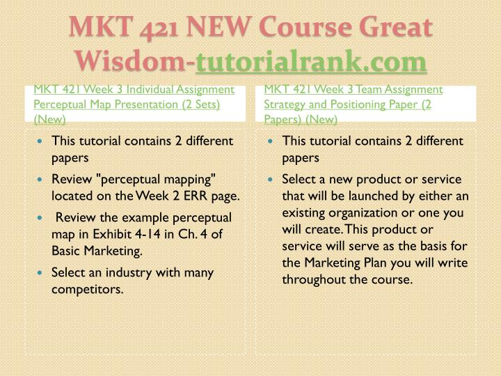 mkt 421 individual assignment week 3 For more classes visit wwwmkt421educom this tutorial contains 2 different papers write a 750- to 1,000-word paper that describes the importance of blue ocean strategy and identifies a product or service that would be considered a blue ocean move include the following: a description of blue ocean strategy and its importance a product or service that might be considered a blue ocean move and.