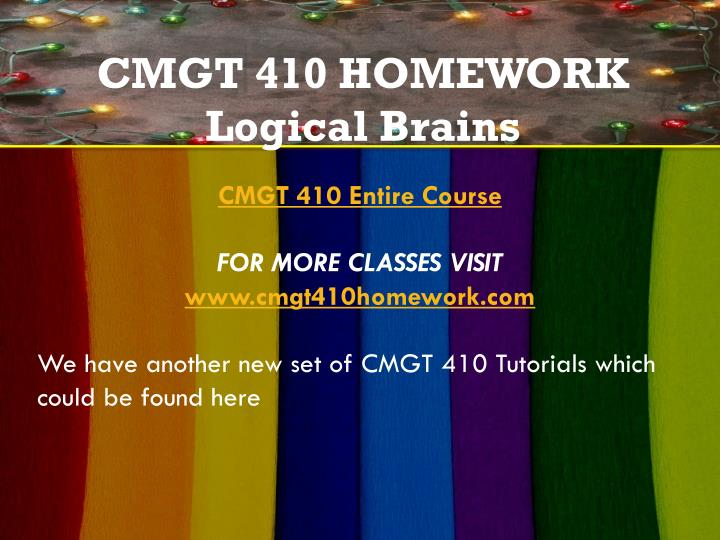 cmgt 410 Cmgt 410 week 1 individual assignment, project proposal best resources for homework and assignment help all tutorials are delivered via e-mail.