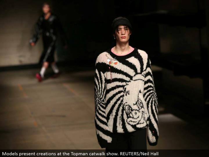 Models introduce manifestations at the Topman catwalk appear. REUTERS/Neil Hall