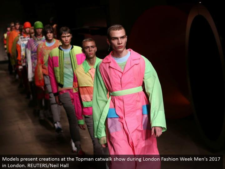 Models exhibit manifestations at the Topman catwalk appear amid London Fashion Week Men's 2017 in London. REUTERS/Neil Hall
