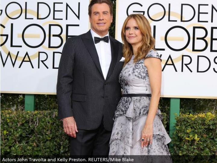 Actors John Travolta and Kelly Preston. REUTERS/Mike Blake