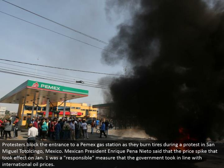"Protesters hinder the passageway to a Pemex service station as they smolder tires amid a challenge in San Miguel Totolcingo, Mexico. Mexican President Enrique Pena Nieto said that the value spike that produced results on Jan. 1 was a ""capable"" measure that the legislature brought in accordance with global oil prices."