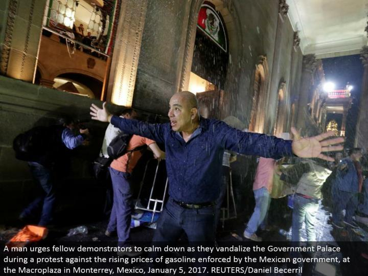 A man urges kindred demonstrators to quiet down as they vandalize the Government Palace amid a chall...