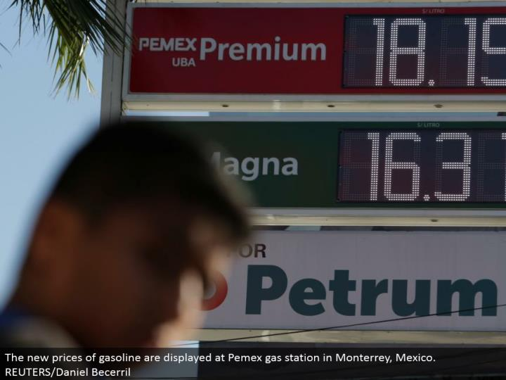 The new costs of fuel are shown at Pemex service station in Monterrey, Mexico. REUTERS/Daniel Becerril