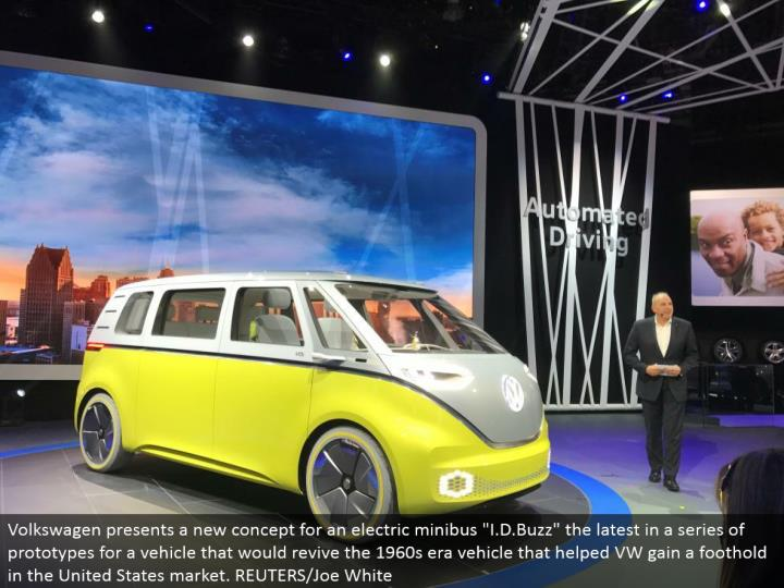 """Volkswagen presents another idea for an electric minibus """"I.D.Buzz"""" the most recent in a progression of models for a vehicle that would resuscitate the 1960s time vehicle that helped VW pick up a toehold in the United States showcase. REUTERS/Joe White"""