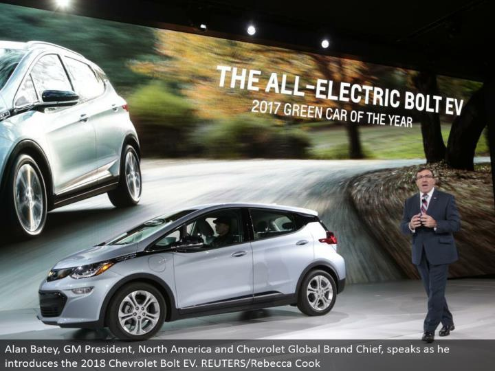 Alan Batey, GM President, North America and Chevrolet Global Brand Chief, talks as he presents the 2018 Chevrolet Bolt EV. REUTERS/Rebecca Cook