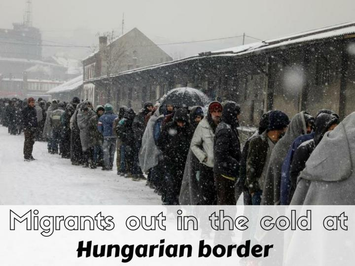 Migrants out in the cold at Hungarian border
