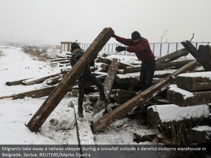 Migrants take away a railroad sleeper amid a snowfall outside a neglected traditions distribution center in Belgrade, Serbia. REUTERS/Marko Djurica