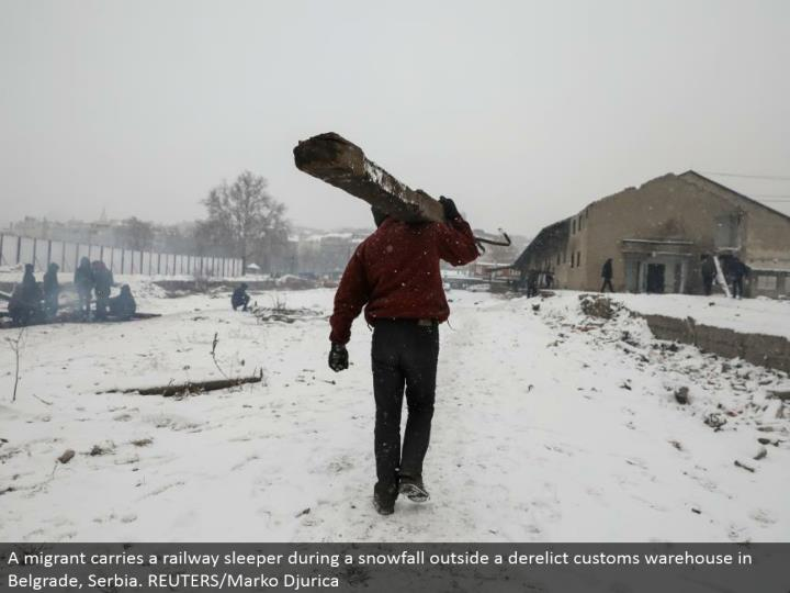 A transient conveys a railroad sleeper amid a snowfall outside a forsaken traditions distribution center in Belgrade, Serbia. REUTERS/Marko Djurica