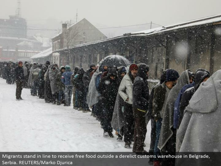 Migrants remain in line to get free sustenance outside a neglected traditions stockroom in Belgrade, Serbia. REUTERS/Marko Djurica