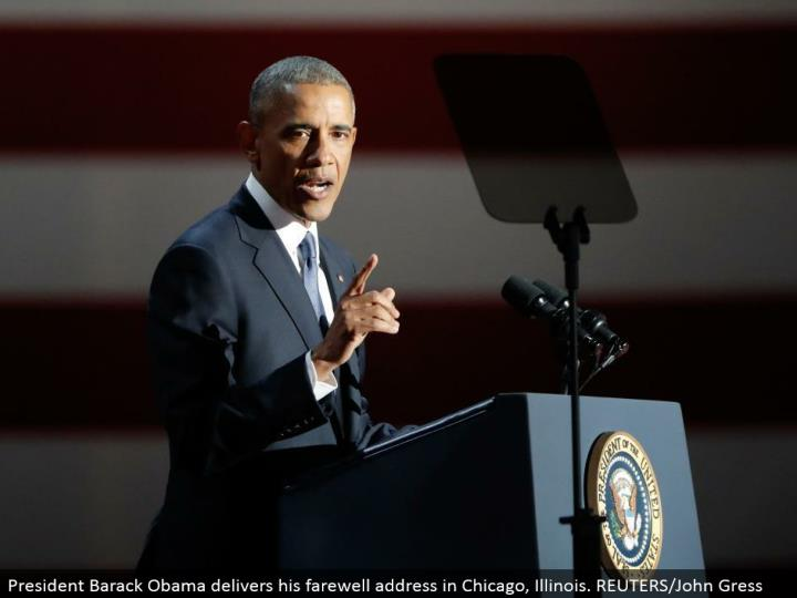 President Barack Obama conveys his goodbye address in Chicago, Illinois. REUTERS/John Gress