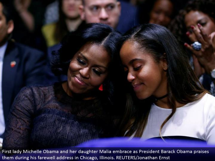 First woman Michelle Obama and her girl Malia hold onto as President Barack Obama applauds them amid his goodbye address in Chicago, Illinois. REUTERS/Jonathan Ernst