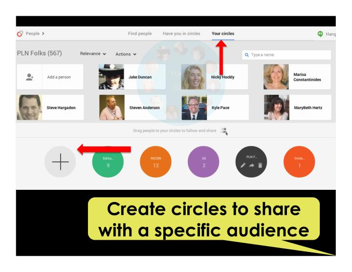 Create circles to share