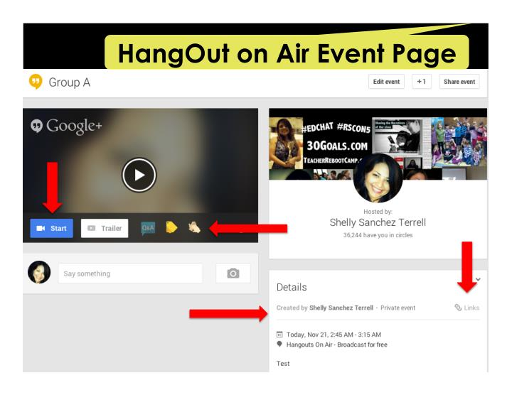 HangOut on Air Event Page