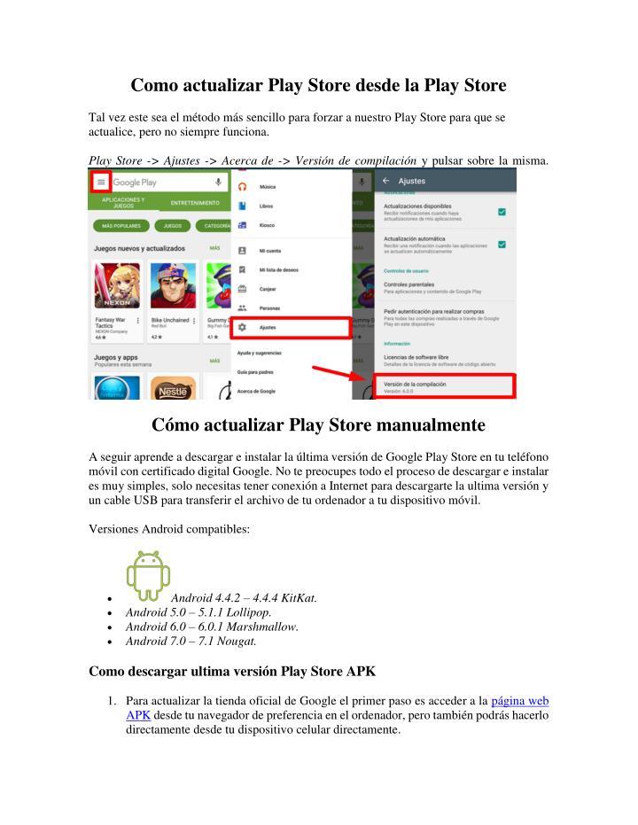 Como actualizar Play Store desde la Play Store