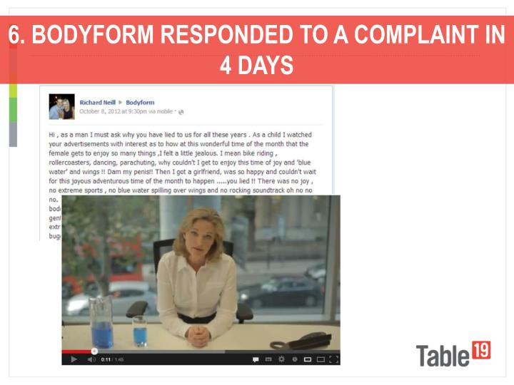 6. BODYFORM RESPONDED TO A COMPLAINT IN 4 DAYS