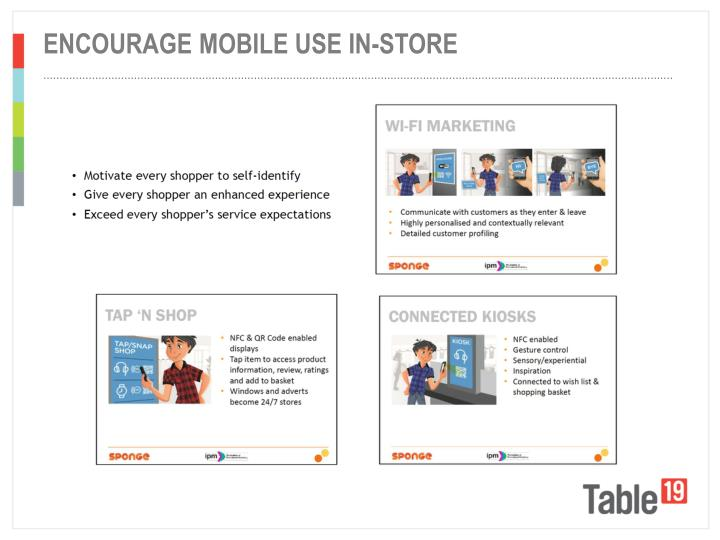 Encourage mobile use in-store