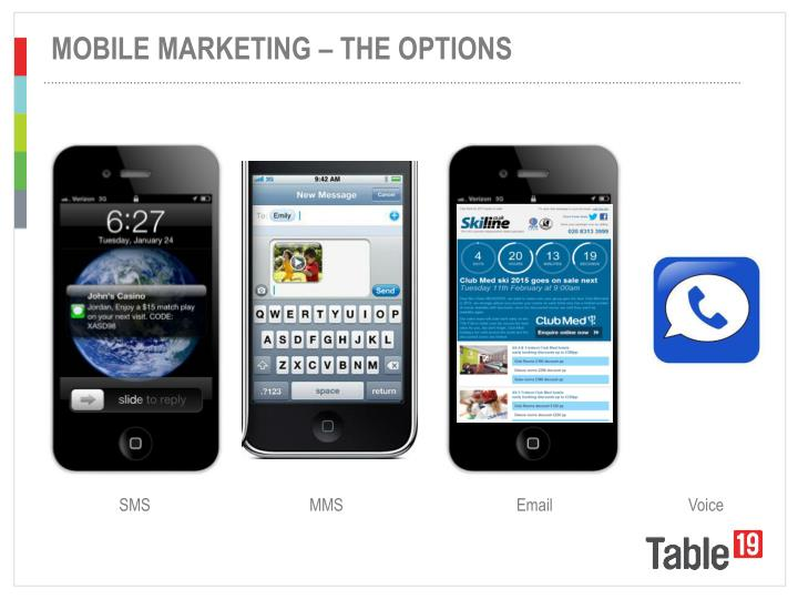 MOBILE MARKETING – THE OPTIONS