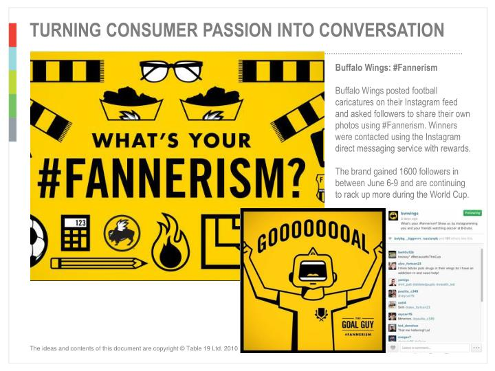 TURNING CONSUMER PASSION INTO CONVERSATION