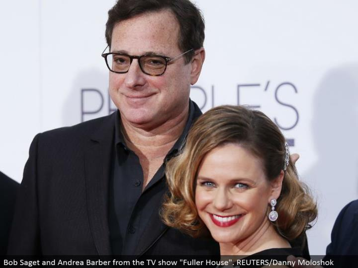 "Bob Saget and Andrea Barber from the TV demonstrate ""Fuller House"". REUTERS/Danny Moloshok"