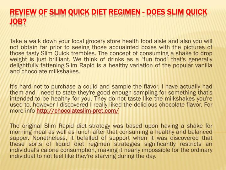 Review of slim quick diet regimen does slim quick job
