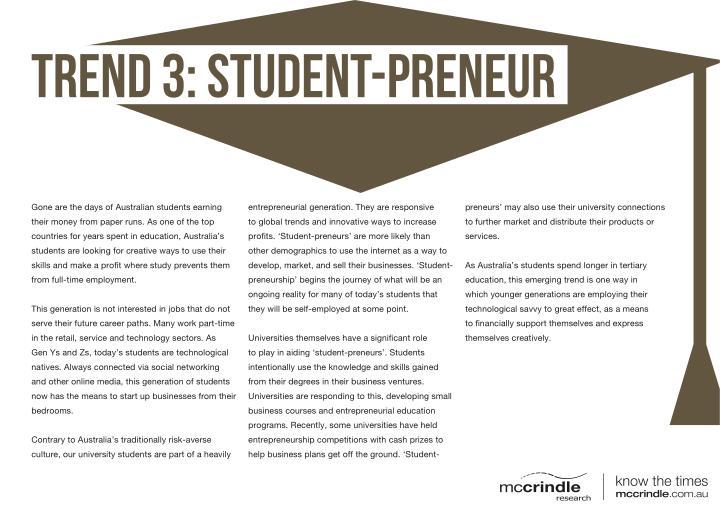 TREND 3: Student-preneur