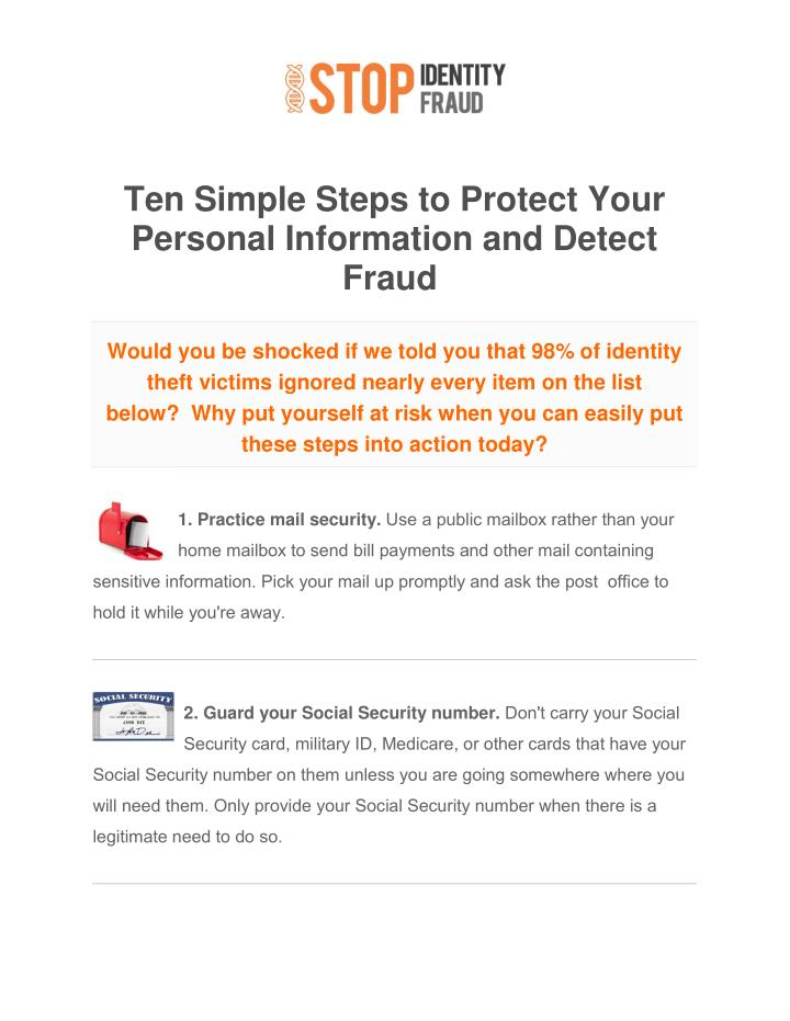 Ten Simple Steps to Protect Your