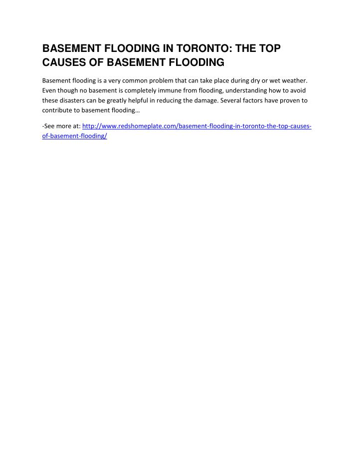 BASEMENT FLOODING IN TORONTO: THE TOP