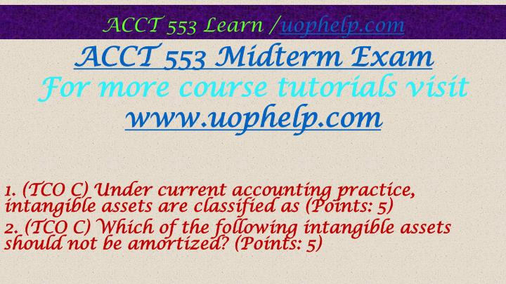 Acct 553 homework es exam answers questions