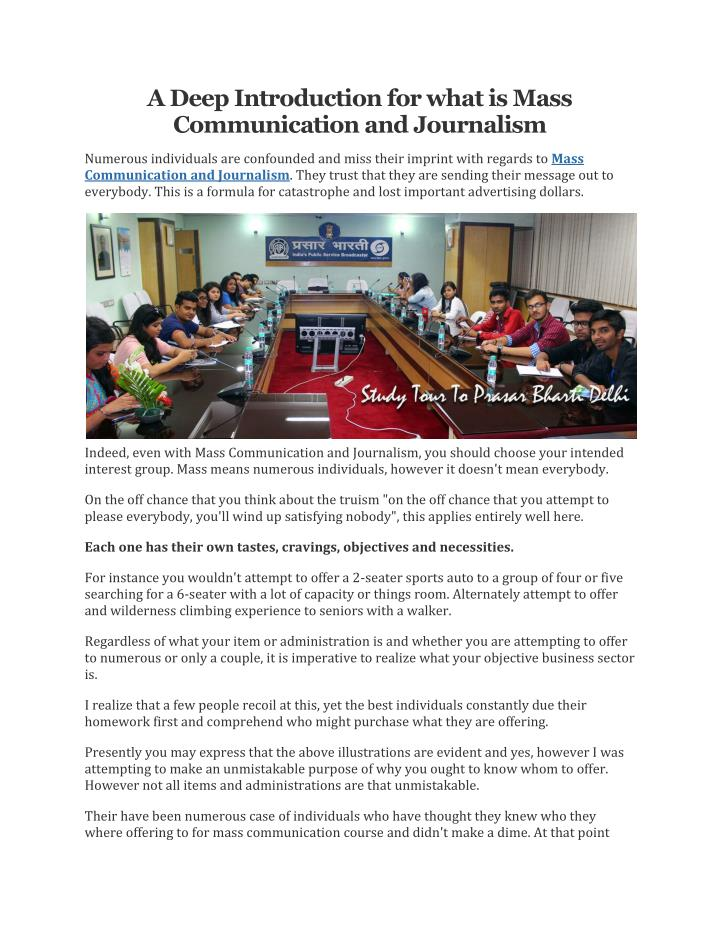 introduction to mass communication It is designed for graduate students in the department of mass communication, as an introduction to how these media work syllabus mass communication.